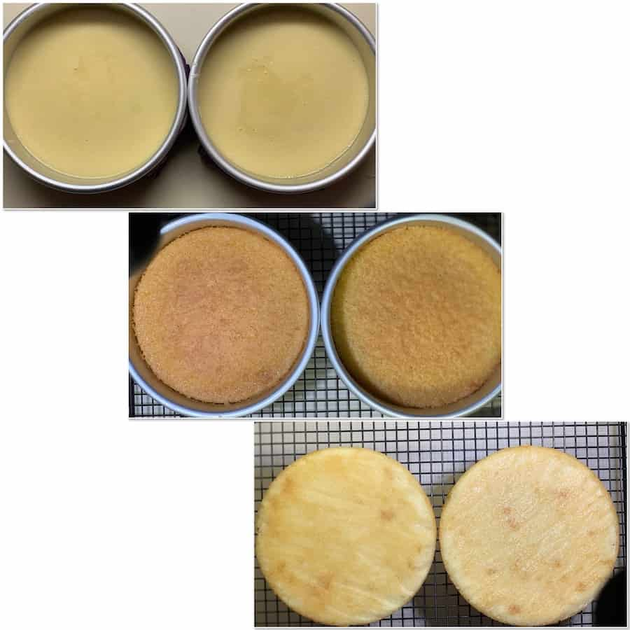 Hot milk cake before and after oven collage