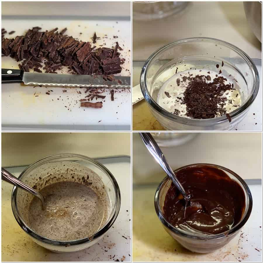 Making chocolate ganache collage