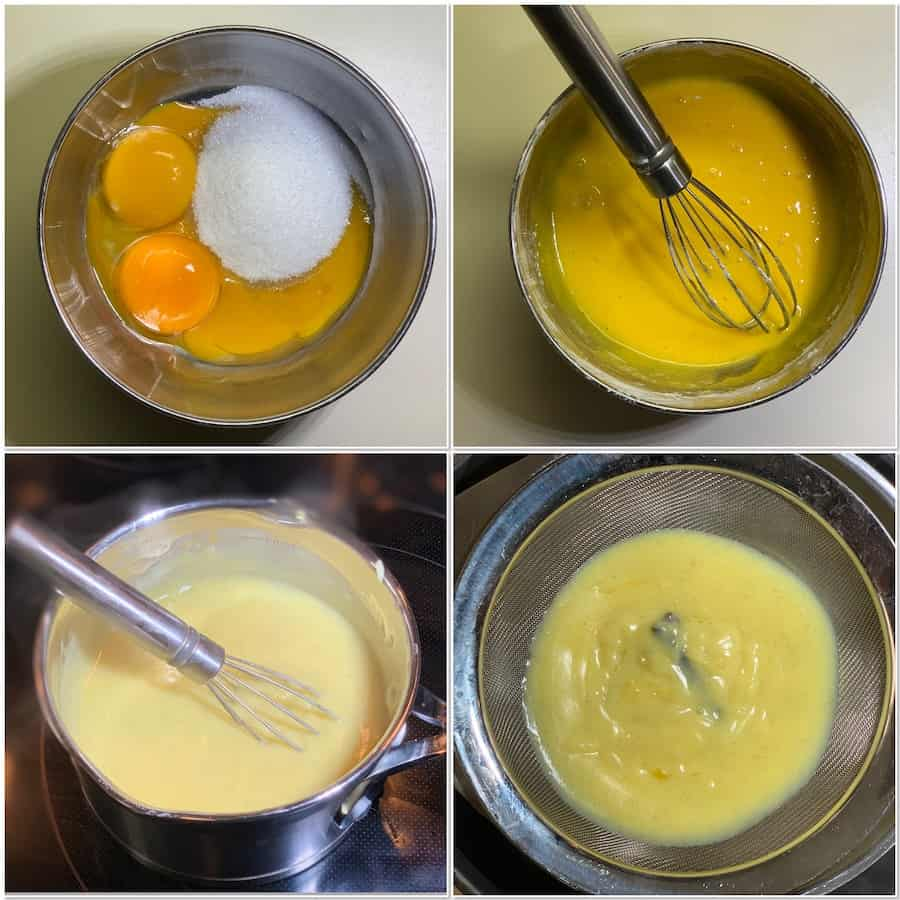 making pastry cream collage