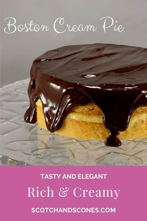 Mini Boston Cream Pie on cake stand Pinterest banner