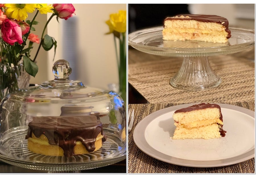 Boston Cream Pie slices collage