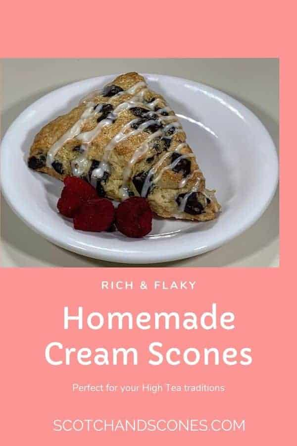 mint chocolate chip scone plated closeup Pinterest banner