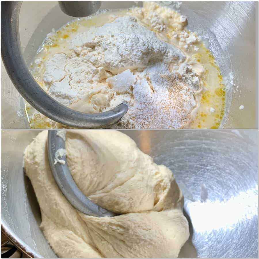 sourdough focaccia mixing the dough collage