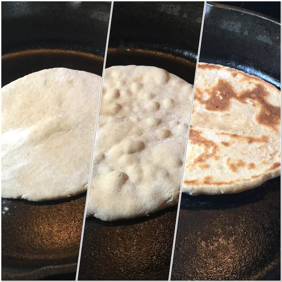 Sourdough naan cooking dough