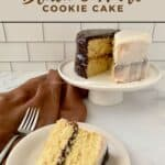 Black and White Cookie Cake slice with cake on cake stand Pinterest banner