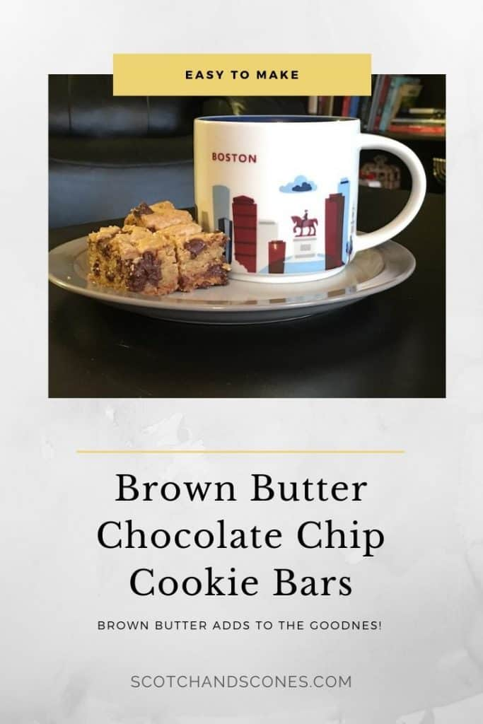 Brown Butter Chocolate Chip Cookie Bars plated with mug Pinterest banner