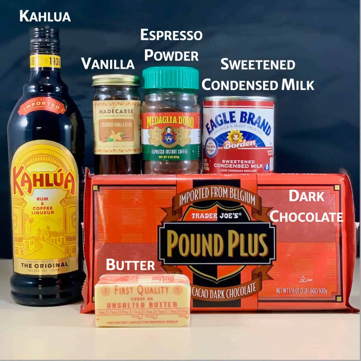Kahlua Chocolate Fudge ingredients