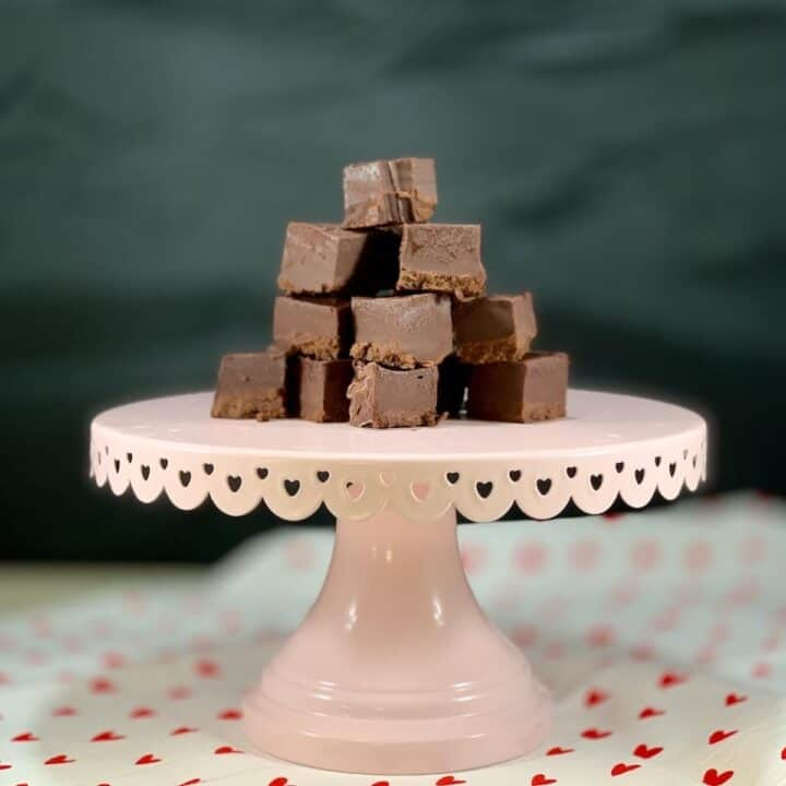 Kahlua Fudge stacked on cakestand