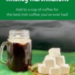 whiskey marshmallows stacked with coffee Pinterest banner.