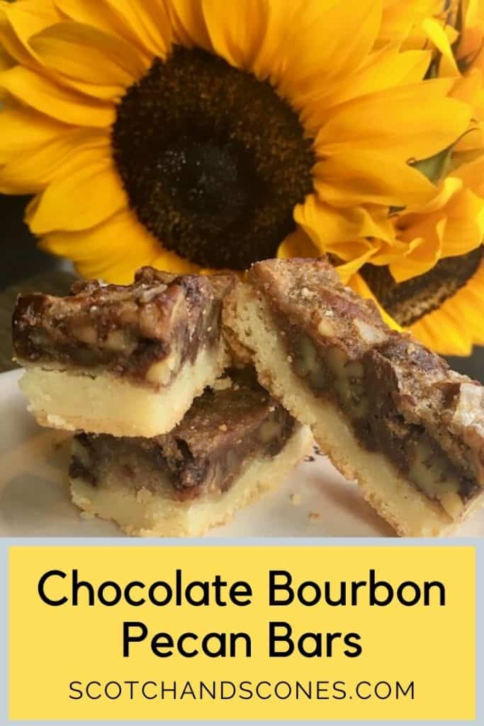 Chocolate Bourbon Pecan Bars stacked with sunflower Pinterest banner