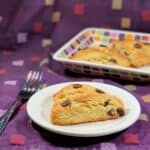 chocolate chip cream scone plated closeup