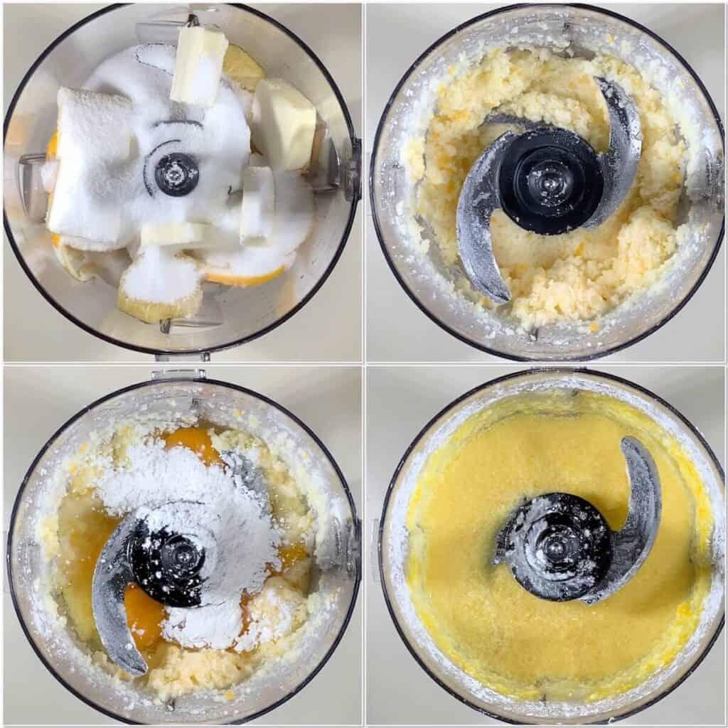 making mini lemon tartlets batter collage