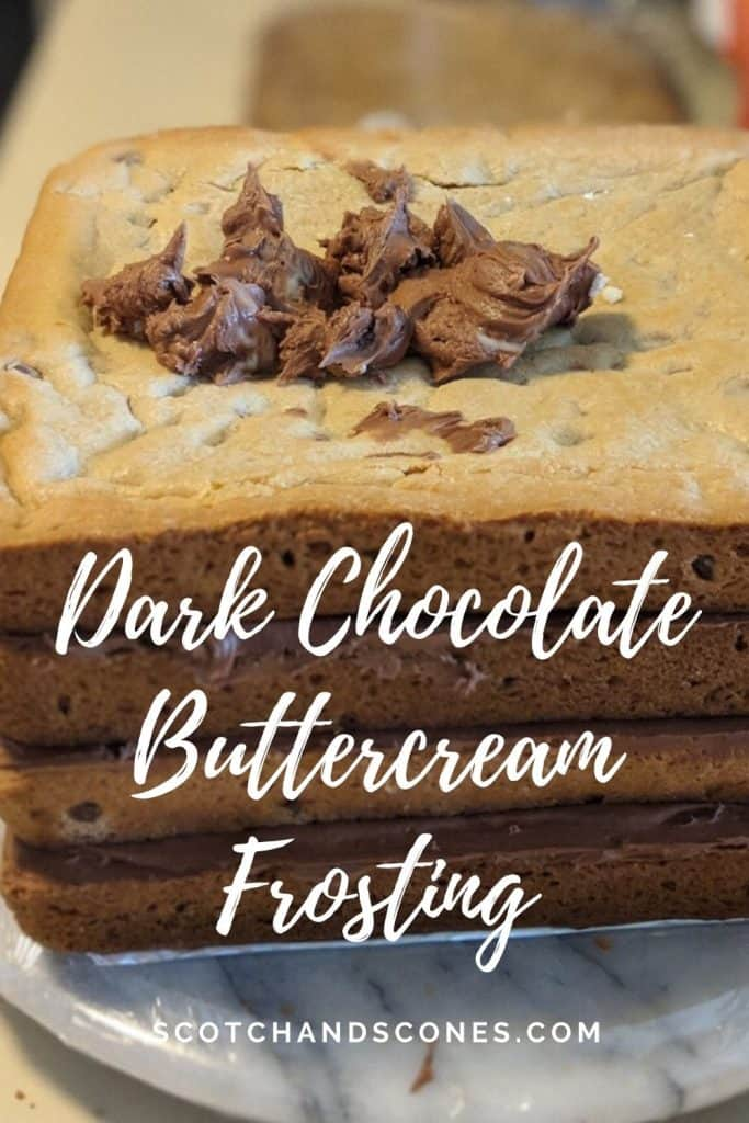 stacked Chocolate Chip Cookie Cake with chocolate buttercream Pinterest banner