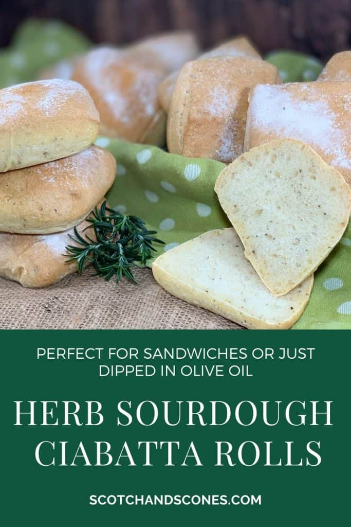 stacked ciabatta rolls with cut roll Pinterest banner