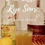 Limoncello Rye Sour with ingredients Pinterest banner