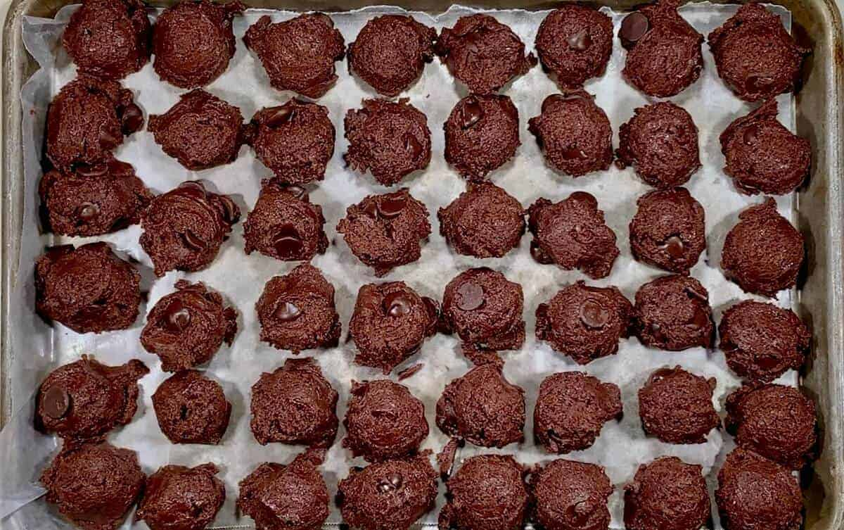 Mocha Chocolate Truffle Cookies lined up to go into the freezer