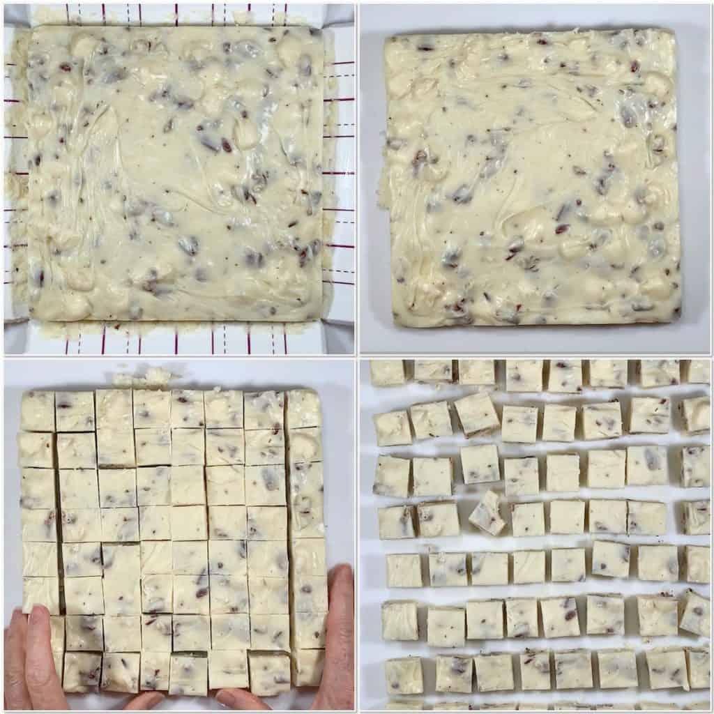 Cutting White Chocolate Marshmallow Pecan Fudge collage