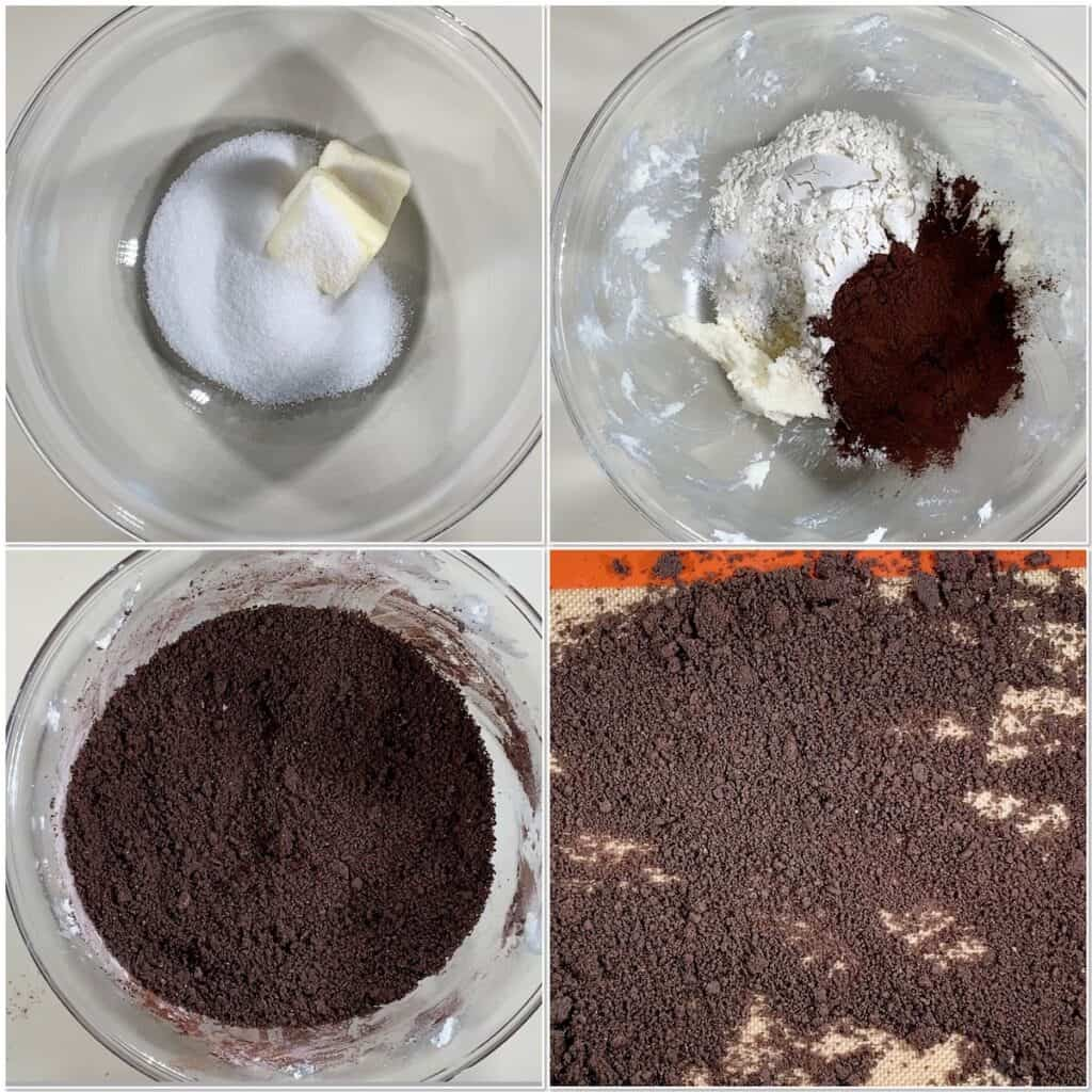 Preparing and baking the chocolate cookie crumb dough  collage