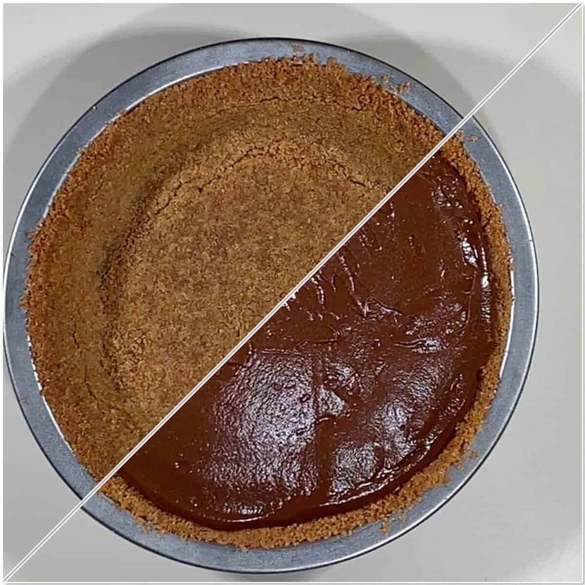 Filling the graham cracker crust with Chocolate Cream Pie filling collage