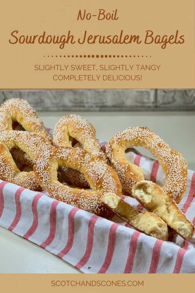 Sourdough Jerusalem Bagels in basket closeup Pinterest banner