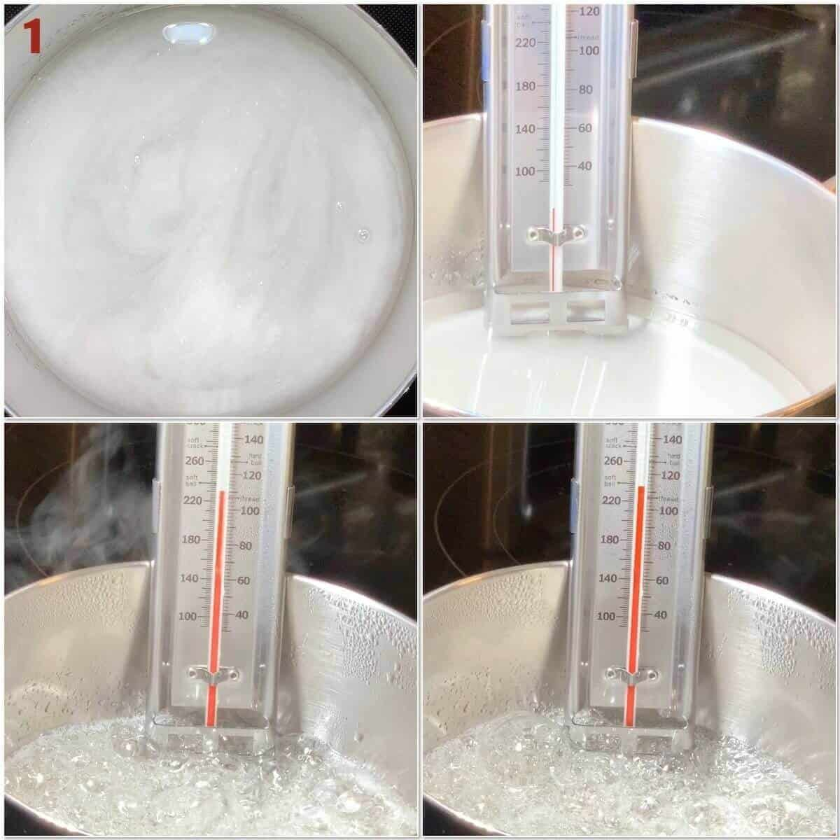 Collage of heating sugar syrup.