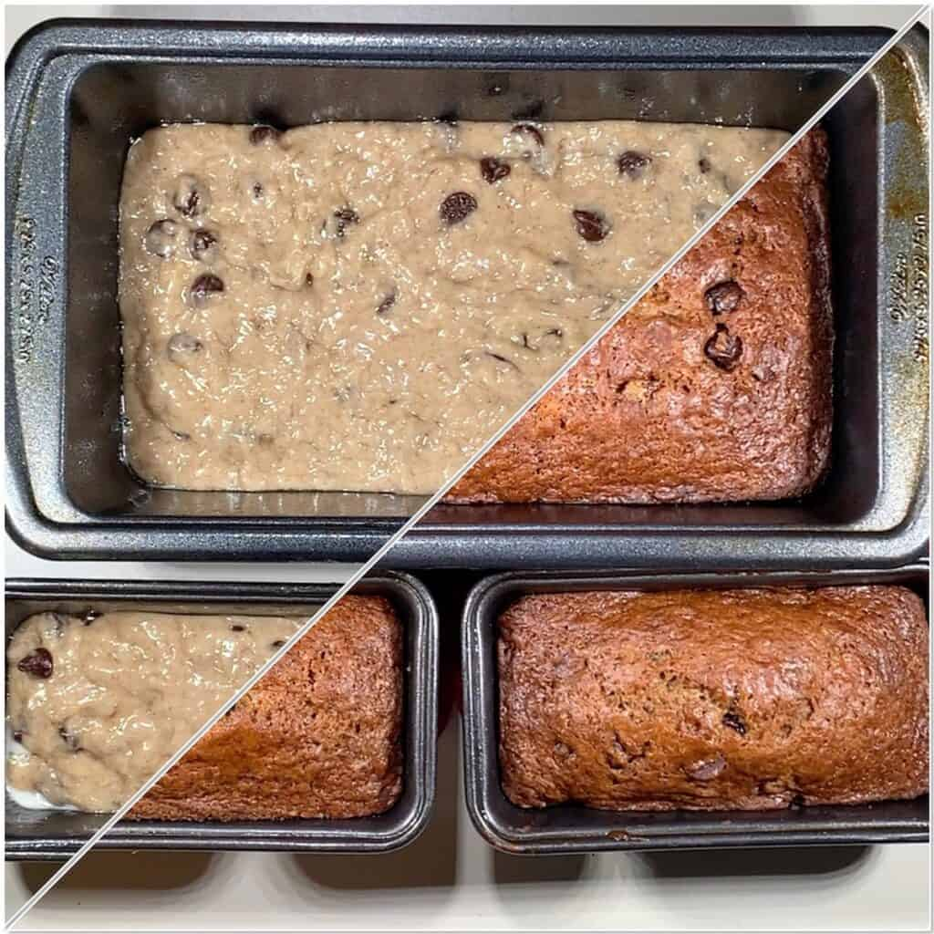 Sourdough Banana Bread large loaf with 2 small loaves before & after baking collage