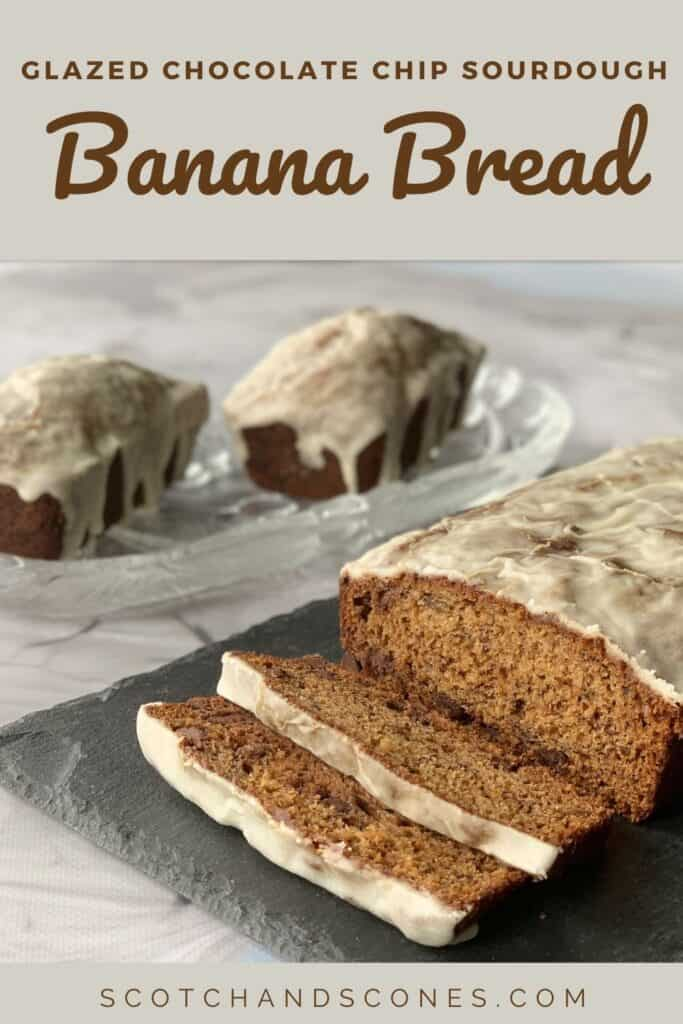 Sourdough Banana Bread sliced large loaf closeup with 2 small loaves Pinterest banner