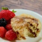 Quick Cinnamon Rolls plated with berries