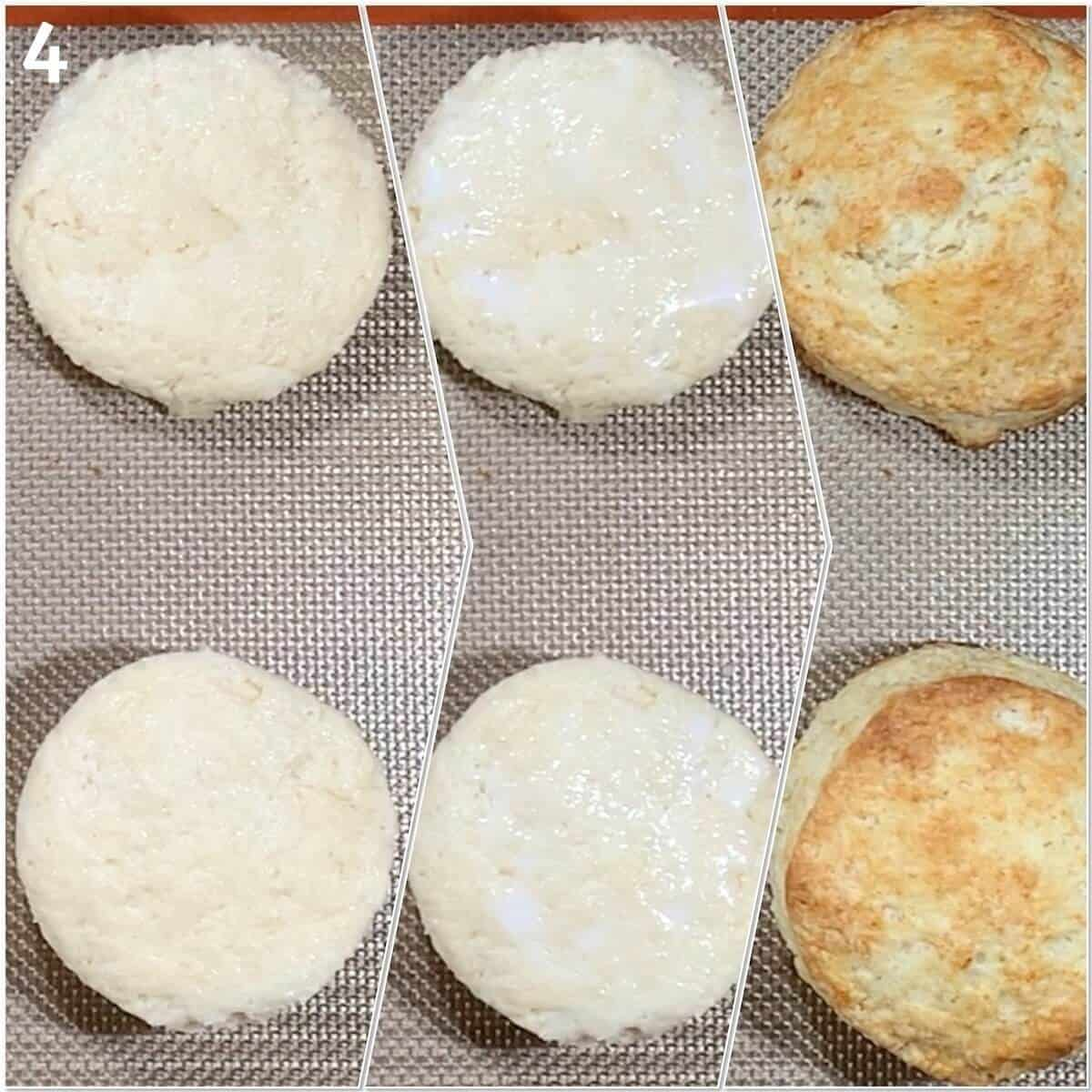 Collage of strawberry blueberry shortcake biscuits before & after baking Shortcake biscuits before & after baking.