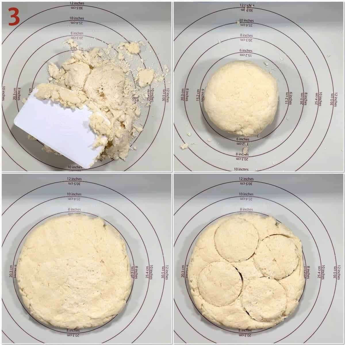 Collage of cutting out strawberry blueberry shortcake biscuits.