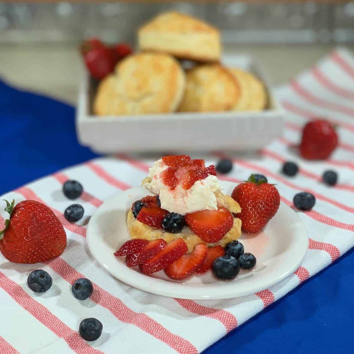 Strawberry-Blueberry Shortcakes plated finished with stack behind