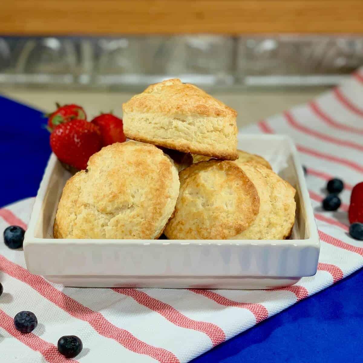 Strawberry-Blueberry Shortcakes stacked closeup