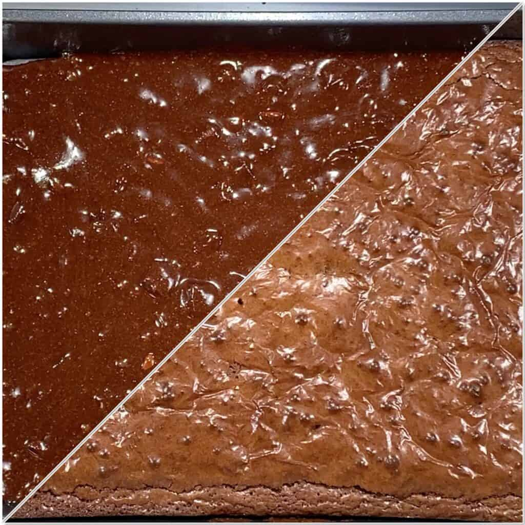Triple Chocolate Whole Wheat Brownies before & after baking collage