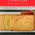 Orange Vanilla Pound Cake sliced loaf overhead Pinterest banner