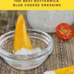 closeup of yellow pepper dipped in buttermilk blue cheese dressing Pintrest banner