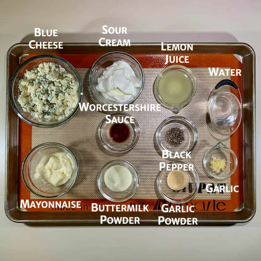 buttermilk blue cheese dressing ingredients on tray marked