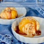 Caramel Swirl Almond Gelato plated with apron Pinterest banner