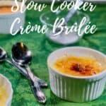 Finished Crème Brûlée with sugar & spoons Pinterest banner