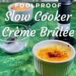 Finished Crème Brûlée with sugar & torch Pinterest banner