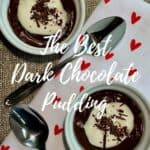 Dark Chocolate Pudding on towel overhead Pinterest banner