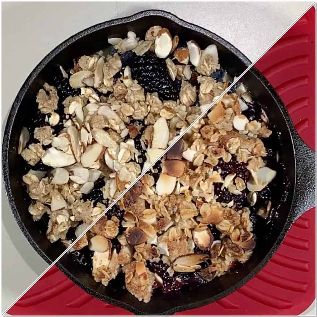 Skillet Berry Crisp before & after baking collage