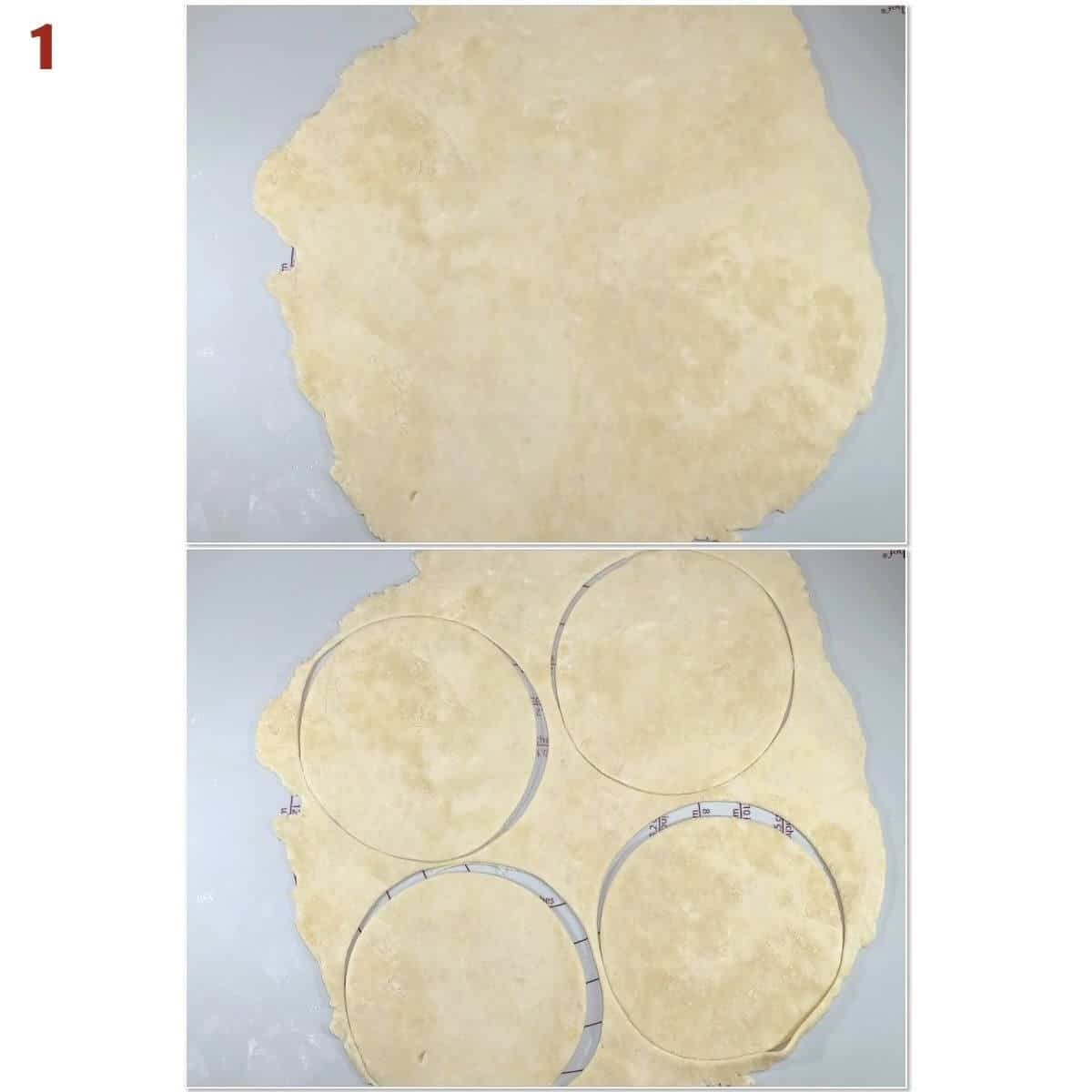Collage of cutting out tart shell dough.