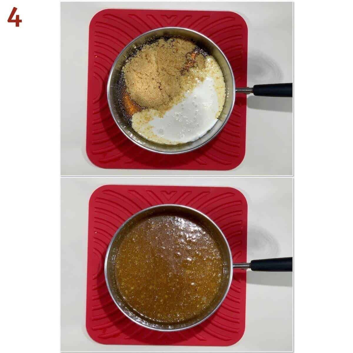 Collage of mixing treacle tart filling.