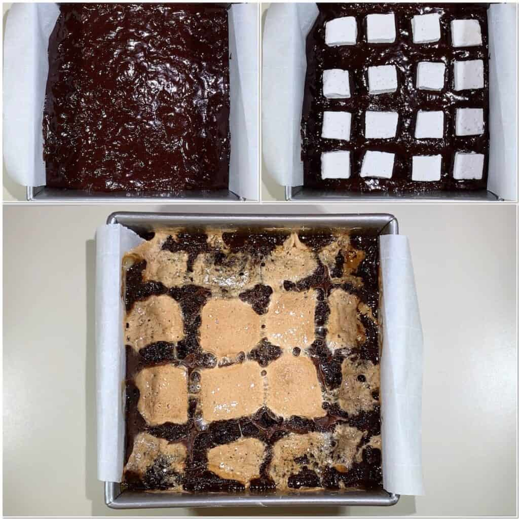 Whiskey Marshmallow Brownies before & after baking collage