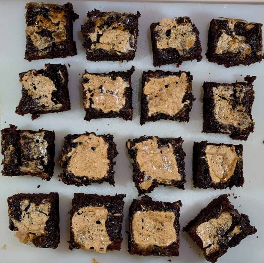 Cut Whiskey Marshmallow Brownies in grid overhead