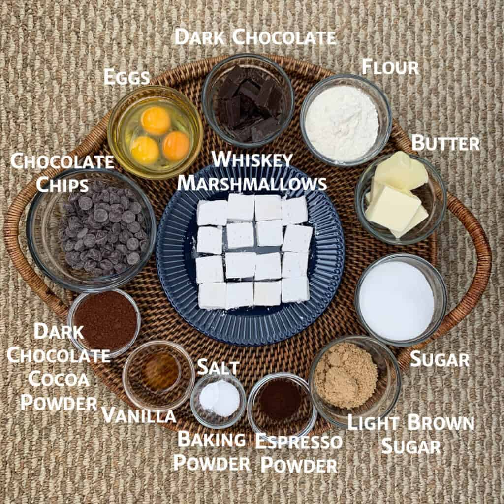 Whiskey Marshmallow Brownie ingredients on tray overhead marked