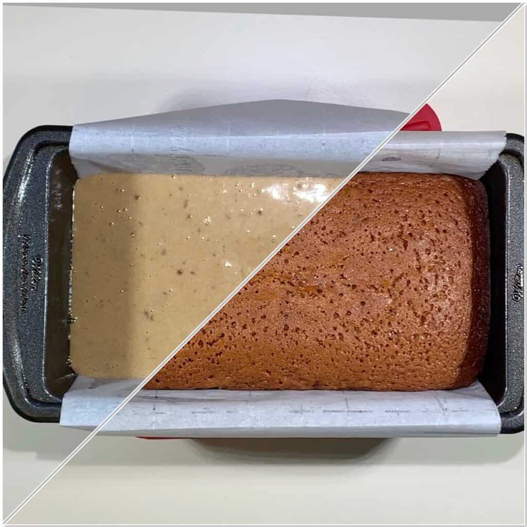 Honey Cake before & after baking
