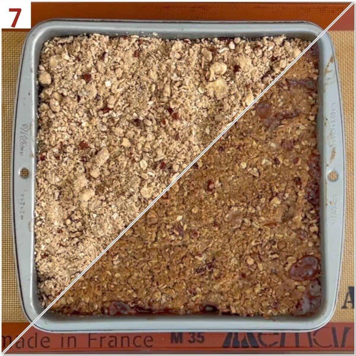 Collage of Apple Crisp before & after baking.