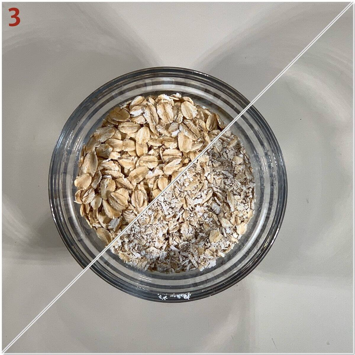 Collage of grinding oats for a streusel toppling.