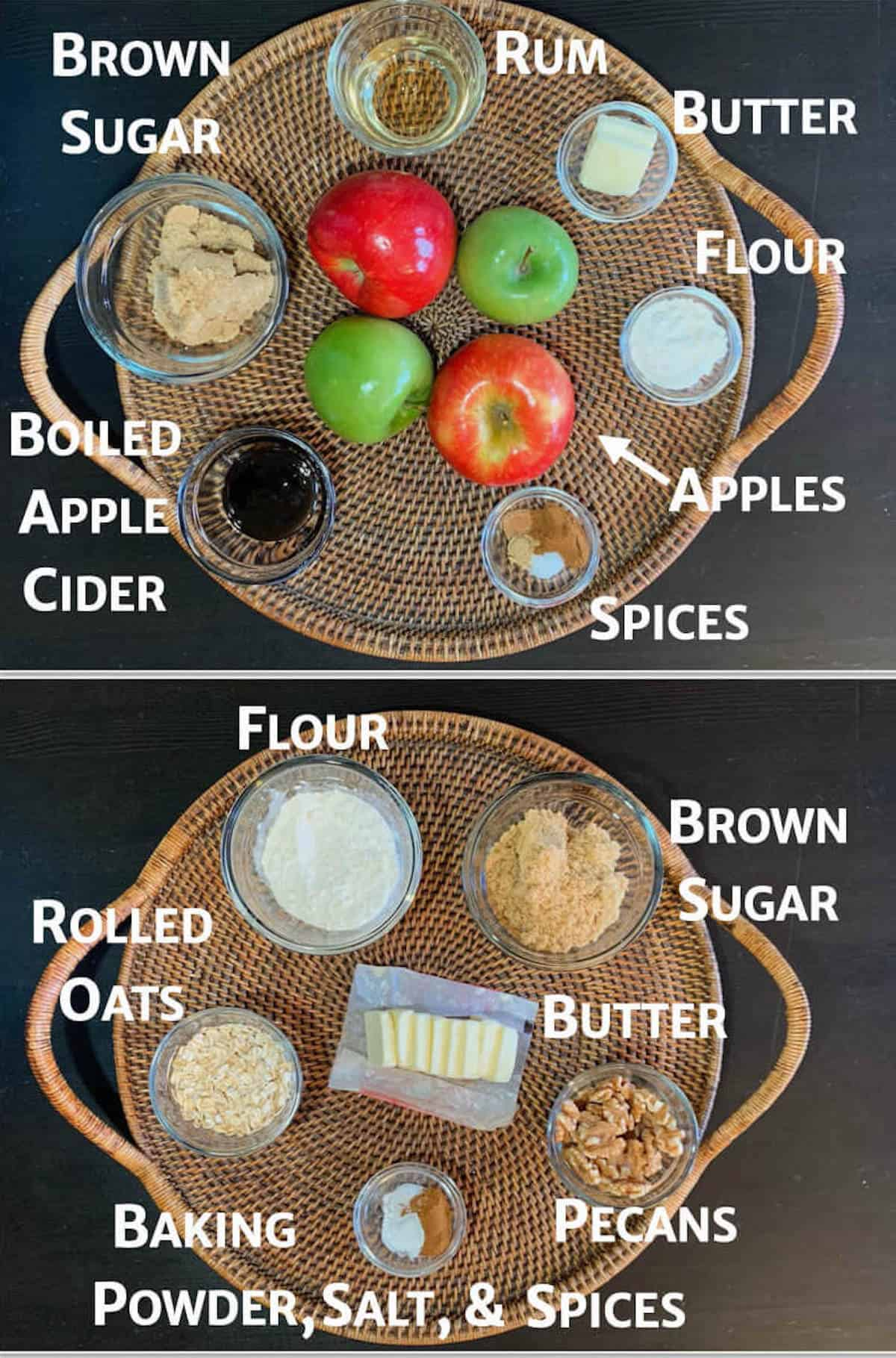 Collage of Apple Crisp filling & streusel topping ingredients on a wooden tray overhead.